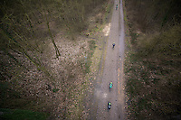 Paris-Roubaix 2013 RECON..birds view on Team Europcar training in the Trouée d'Arenberg...