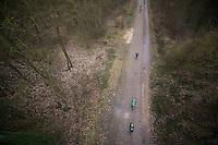 Paris-Roubaix 2013 RECON..birds view on Team Europcar training in the Trouée d'Arenberg...