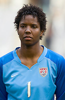 USA goalkeeper Briana Scurry. The U.S. defeated Finland, 4-1 during the Four Nations Tournament in  Guangzhou, China on January 18, 2008.