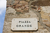 Montepulciano, Tuscany, Italy. Piazza grande sign on a wall.