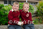 Twins Patrick and Aaron Stack enjoying their first day in junior infants in Moyderwell NS on Wednesday.