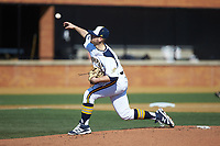 Quinnipiac Bobcats starting pitcher Taylor Luciani (18) delivers a pitch to the plate against the Radford Highlanders at David F. Couch Ballpark on March 4, 2017 in Winston-Salem, North Carolina. The Highlanders defeated the Bobcats 4-0. (Brian Westerholt/Four Seam Images)