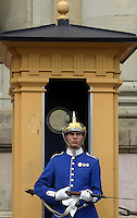 Soldier from Livgardet, the royal guard, standing outside Stockholm Castle.