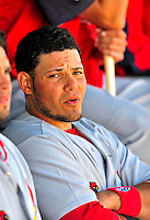 1 March 2009: St. Louis Cardinals' catcher Yadier Molina sits in the dugout during a Spring Training game against the Florida Marlins at Roger Dean Stadium in Jupiter, Florida. The Cardinals outhit the Marlins 20-13 resulting in a 14-10 win for the Cards. Mandatory Photo Credit: Ed Wolfstein Photo