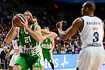 Real Madrid's player Rudy Fernandez and Anthony Randolph and Unics Kazan's player Kostas Kaimakoglou during match of Turkish Airlines Euroleague at Barclaycard Center in Madrid. November 24, Spain. 2016. (ALTERPHOTOS/BorjaB.Hojas)