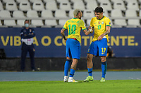 5th July 2021; Nilton Santos Stadium, Rio de Janeiro, Brazil; Copa America, Brazil versus Peru; Lucas Paquetá of Brazil celebrates his goal with Neymar in the 43rd minute for 1-0