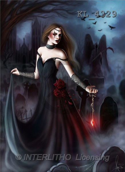 Interlitho, Wadim, FANTASY, paintings, gothic woman, KL, KL4329,#fantasy# illustrations, pinturas