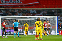 17th April 2021; Olmpico de La Cartuja stadium, Seville, Spain; Copa del Rey Football final, Athletic Bilbao versus FC Barcelona;  Lionel Messi of FC Barcelona with Martin Braithwaite celebrating their victory