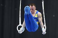 12th March 2020, Baku, Azerbaijan;  2020 Artistic World Cup Gymnastics Tournament;  Igor Radivilov, UKR, during qualification on rings