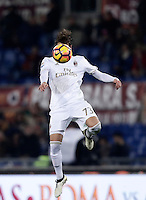 Calcio, Serie A: Roma vs Milan. Roma, stadio Olimpico, 12 dicembre 2016.<br /> Milan's Manuel Locatelli heads the ball during the Italian Serie A football match between Roma and AC Milan at Rome's Olympic stadium, 12 December 2016.<br /> UPDATE IMAGES PRESS/Isabella Bonotto