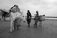 North Darfur, August 23, 2004.Between El Fasher and Kutum, in an area spared by the recent wave of destructions, women fetch water from a large wadi.