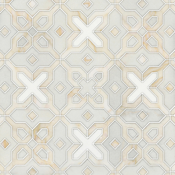 Huelva, a handmade mosaic shown in honed Heavenly Cream, polished Cloud Nine and Thassos, is part of the Miraflores Collection by Paul Schatz for New Ravenna.