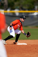 Shortstop Triston Perez (34) waits for a throw during the Perfect Game National Underclass East Showcase on January 23, 2021 at Baseball City in St. Petersburg, Florida.  (Mike Janes/Four Seam Images)
