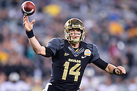 January 01, 2014:<br /> <br /> Baylor Bears quarterback Bryce Petty #14 throws a pass during Tostitos Fiesta Bowl at University of Phoenix Stadium in Scottsdale, AZ. UCF defeat Baylor 52-42 to claim it's first ever BCS Bowl trophy.