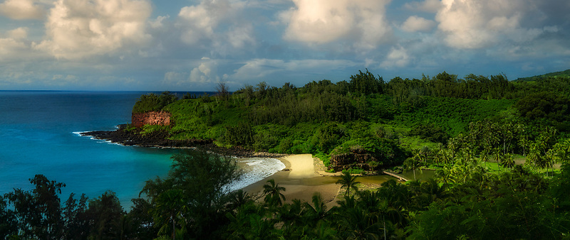 Beach and footbridge at McBride Gardens. Kauai, Hawaii