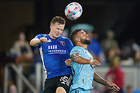 SAN JOSE, CA - AUGUST 17: Tanner Beason #15 of the San Jose Earthquakes during a game between Minnesota United FC and San Jose Earthquakes at PayPal Park on August 17, 2021 in San Jose, California.