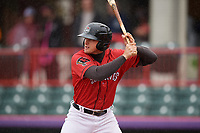 Erie SeaWolves Cam Gibson (14) at bat during an Eastern League game against the Akron RubberDucks on June 2, 2019 at UPMC Park in Erie, Pennsylvania.  Akron defeated Erie 7-2 in the first game of a doubleheader.  (Mike Janes/Four Seam Images)