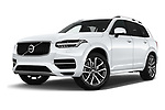 Stock pictures of low aggressive front three quarter view of 2017 Volvo XC90 Momentum 5 Door SUV Low Aggressive