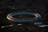 aerial photograph Apple Park, Cupertino, Santa Clara County, California at dusk