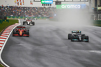 10th October 2021; Formula 1 Turkish Grand Prix 2021 Race Day Istanbul Park Circuit, Istanbul, Turkey;  77 BOTTAS Valtteri fin, Mercedes AMG F1 GP W12 E Performance overtaking 16 LECLERC Charles mco, Scuderia Ferrari SF21