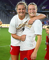 Orlando, FL - Saturday October 14, 2017: Lindsey Horan, Emily Sonnett celebrate during the NWSL Championship match between the North Carolina Courage and the Portland Thorns FC at Orlando City Stadium.
