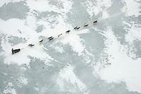 Aerial of Sled Dog Team Crossing Farewell Lake 2005 Iditarod