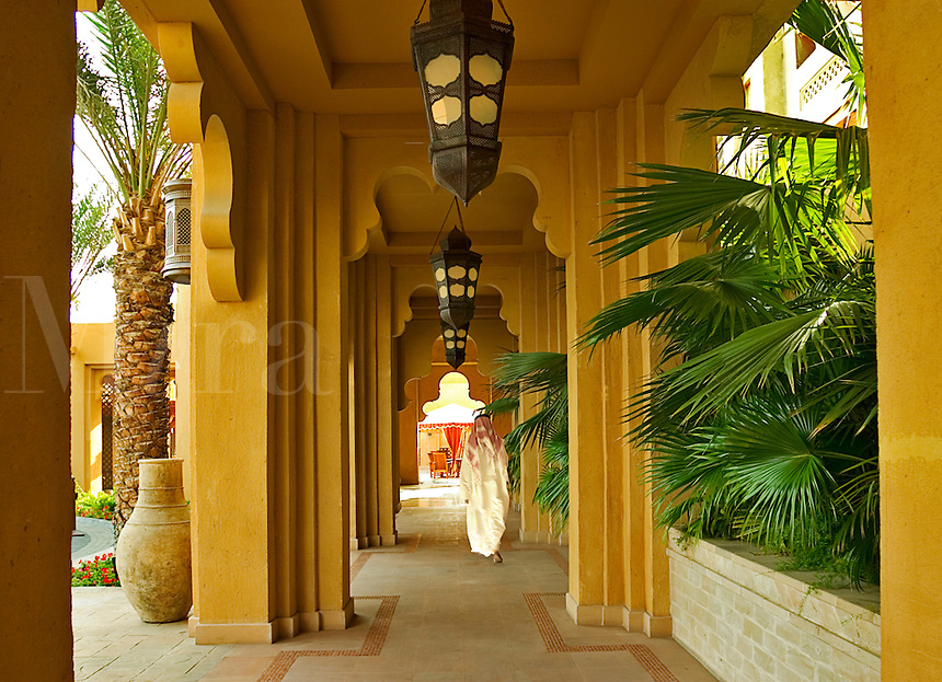 Dubai, United Arab Emirates.  Cool arcade in local style at hotel in Madinat Jumeirah..