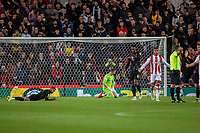 1st October 2021;  Bet365 Stadium, Stoke, Staffordshire, England; EFL Championship football, Stoke City versus West Bromwich Albion; Darnell Furlong of West Bromwich Albion heads the ball into his own net, but the goal is disalllowed
