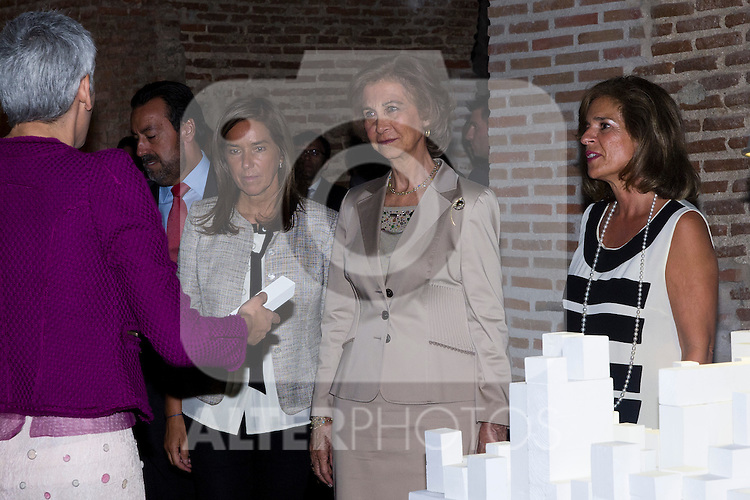 20.09.2012. Queen Sofia of Spain, accompanied by the mayor of Madrid Ana Botella,  the Minister of Health, Social Services and Equality Ana Mato and the Foundation ONCE president, Miguel Carballeda, attend the inauguration of the IV Biennial of Contemporary Art Foundation ONCE, in the Conde Duque Cultural Centre in Madrid. In the image (L-R) Ana Mato, Queen Sofia and Ana Botella (Alterphotos/Marta Gonzalez)