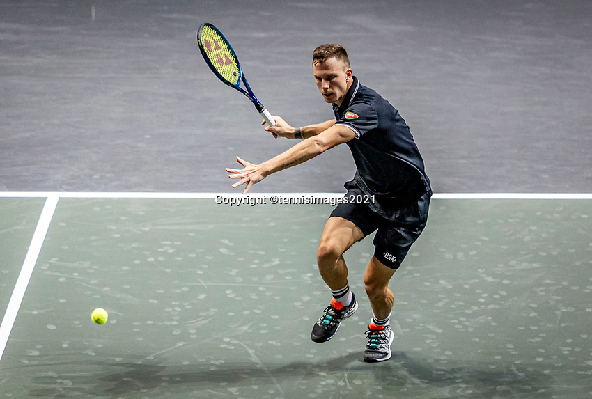 Rotterdam, The Netherlands, 28 Februari 2021, ABNAMRO World Tennis Tournament, Ahoy, Qualyfying match:  Marton Fucsovics (HUN)  <br /> Photo: www.tennisimages.com/henkkoster