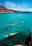Sea kayakers, Baja, Mexico, Sea of Cortez, Isla Espiritu Santo, Baja Sur, North America, Baja Expeditions,.