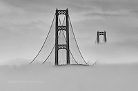 Mackinac Bridge and heavy fog B&W