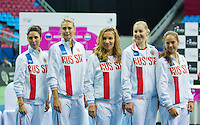 Moskou, Russia, Februari 4, 2016,  Fed Cup Russia-Netherlands,  Draw Ceremony, Russian team<br /> Photo: Tennisimages/Henk Koster