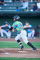 Idaho Falls Chukars Ismaldo Rodriguez (6) at bat during a Pioneer League game against the Missoula Osprey at Melaleuca Field on August 20, 2019 in Idaho Falls, Idaho. Idaho Falls defeated Missoula 6-3. (Zachary Lucy/Four Seam Images)