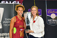 24th September 2021: Christchurch, New Zealand;  Captain Serena Guthrie and Coach Jess Thirlby with the  Cadbury Netball Series/Taini Jamison Trophy, New Zealand Silver Ferns versus England Roses, Christchurch Arena, Christchurch, New Zealand