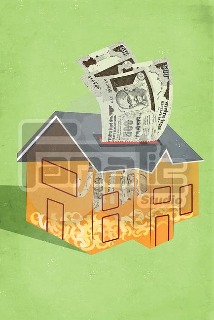 Illustrative image of decrease in real estate prices representing loss