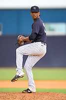 FCL Yankees pitcher Yoljeldriz Diaz (17) during a game against the FCL Tigers East on July 27, 2021 at the Yankees Minor League Complex in Tampa, Florida. (Mike Janes/Four Seam Images)