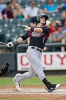 Sacramento River Cats designated hitter Colin Walsh (3) follows through on his swing during the Pacific Coast League baseball game against the Round Rock Express on June 19, 2014 at the Dell Diamond in Round Rock, Texas. The Express defeated the River Cats 7-1. (Andrew Woolley/Four Seam Images)