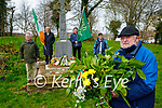 """Laying the wreath at the William """"Sonny"""" McCarthy memorial in the Tralee town park on Saturday  where he was shot on the 26th March 1921. Front right: Liam Hutchinson (Holding the wreath). Back l to r: Tommy Collins, Eddie Jennings, Eddie Riordan and Brendan Moriarty."""