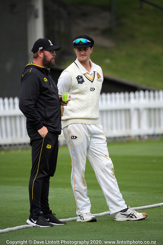 Firebirds assistant coach Lance Dry talks to Ollie Newton during day one of the Plunket Shield match between the Wellington Firebirds and Otago at Basin Reserve in Wellington, New Zealand on Thursday, 5 November 2020. Photo: Dave Lintott / lintottphoto.co.nz