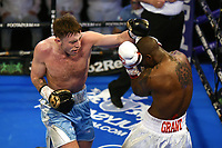 James Heneghan (blue shorts) defeats Dwain Grant during a Boxing Show at York Hall on 24th April 2021