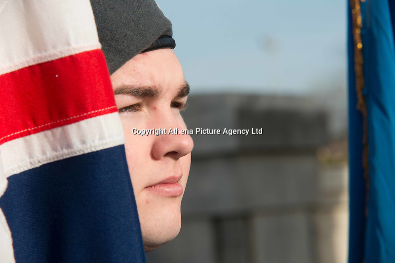 Pictured: A young cadet at the service Friday 11 November 2016<br /> Re: Remembrance Day service at the Cenotaph in Swansea, south Wales, UK.