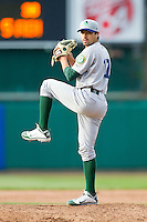 Beloit Snappers relief pitcher Wilfredo Solano (17) in action against the Lansing Lugnuts at Cooley Law School Stadium on May 5, 2013 in Lansing, Michigan.  The Lugnuts defeated the Snappers 5-4.  (Brian Westerholt/Four Seam Images)