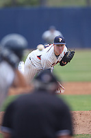 Corey Miller #37 of the Pepperdine Waves pitches against the BYU Cougars at Eddy D. Field Stadium on April 10, 2014 in Malibu, California. BYU defeated Pepperdine, 1-0. (Larry Goren/Four Seam Images)