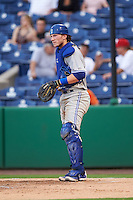 Dunedin Blue Jays catcher Danny Jansen (31) during a game against the Clearwater Threshers on August 15, 2016 at Bright House Field in Clearwater, Florida.  Dunedin defeated Clearwater 4-1.  (Mike Janes/Four Seam Images)