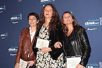 LA PRODUCTRICE YAEL FOGIEL, LA REALISATRICE JULIE BERTUCCELLI ET LA PRODUCTRICE LAETITIA GONZALEZ, NOMMEES POUR LE CESAR DU MEILLEUR FILM DOCUMENTAIRE POUR LE FILM 'DERNIERES NOUVELLES DU COSMOS' - DEJEUNER DES NOMMES AUX CESAR 2017 AU FOUQUET'S