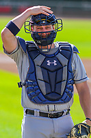 Colorado Springs Sky Sox catcher Stephen Vogt (30) prior to game one of a Pacific Coast League doubleheader against the Iowa Cubs on August 17, 2017 at Principal Park in Des Moines, Iowa. Iowa defeated Colorado Springs 1-0. (Brad Krause/Four Seam Images)