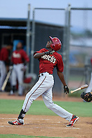 Marcus Wilson #9 of the AZL Diamondbacks bats against the AZL Padres at the Peoria Sports Complex on July 7, 2014 in Peoria, Arizona. (Larry Goren/Four Seam Images)