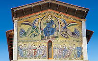 Close up of the  13th century Byzantine Mosaic panel depicting Christ Pantocrator of the Basilica of San Frediano, a Romanesque church, Lucca, Tunscany, Italy