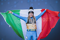 Alpine World Ski Championships, Cortina 2021 16 02 2021, Cortina, ITA, FIS Alpine World Ski Championships, Parallel Event, Ladies, Award Ceremony, in the picture Gold medal winner and world champion Marta Bassino ITA during the winner ceremony of Ladies Parallel Event of FIS Alpine World Ski Championships 2021 in Cortina, Italy on 2021 02 16 Cortina Italy <br /> Photo imago images/Sammy Minkoff/Insidefoto